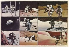 Robert McCalls sequential strip-like sketches showing the moonwalk of Apollo 17 astronauts Eugene Cernan and Jack Schmidt, December 13th, 1972. Drawn while watching the event live on TV monitors at Mission Control.