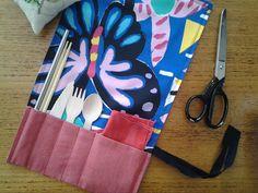 Cutlery wrap sewing tutorial. Avoid single use cutlery by taking your own in your own cutlery wrap.