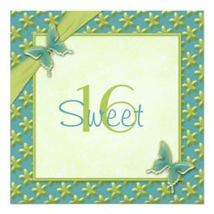Turquoise and Lime Butterfly Sweet Sixteen Invite