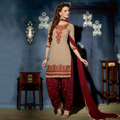 Buy Beige - Maroon Embroidered Work Patiala Suit Online Women Ethnic Wear at Peachmode.com