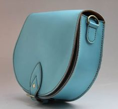 Handmade Artisan Genuine Leather Women's Messenger Bag / Shoulder Purse in Light Blue