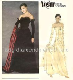 Vogue 2604 Nina Ricci Paris Original 1980s Strapless Evening Gown Ballgown Wedding Dress size 10 Bust 32.5 Red Carpet Gown Sewing Pattern by ladydiamond46 on Etsy