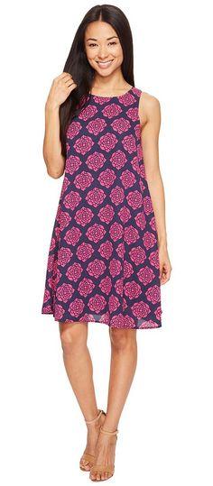 Hatley Trapeze Dress (Navy/Fuchsia Henna Floral) Women's Dress - Hatley, Trapeze Dress, WDDHENA170, Apparel Top Dress, Dress, Top, Apparel, Clothes Clothing, Gift, - Fashion Ideas To Inspire