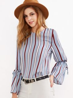 Blue Vertical Striped Drawstring Sleeve Blouse