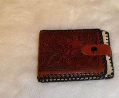 Vintage Brown Leather Tooled Roses Bifold Women's Wallet #Unbranded #Bifold