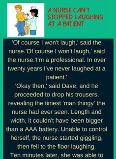 FUNNY JOKES - A nurse laughing at a patient