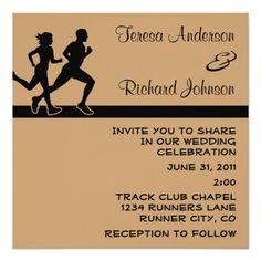 Simple fitness techniques when it comes to straightforward health running couple wedding invitation 525 square invitation card stopboris Gallery