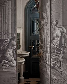 Powder room is hidden behind grisaille panel doors. Photographed by Jean-Francois Jaussaud for Elle Decor. Decor, Doors, Interior And Exterior, Elle Decor, Mural, Interior, Secret Rooms, Mural Wallpaper, Grisaille