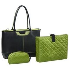 @Overstock - This Tuscany designer bag will hold your notebook computer and all your makeup and accessories. It's a fashion handbag that is part briefcase - part purse, carrying your business documents as well as your cosmetics.http://www.overstock.com/Luggage-Bags/Nunzia-Tuscany-Womens-Green-15.4-inch-Laptop-Tote/5310145/product.html?CID=214117 $102.95
