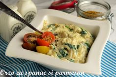 Orzo cu spanac si parmesan - Retete culinare by Teo's Kitchen Couscous, Parmesan, Pasta Recipes, Mashed Potatoes, Good Food, Veggies, Drinks, Ethnic Recipes, Health