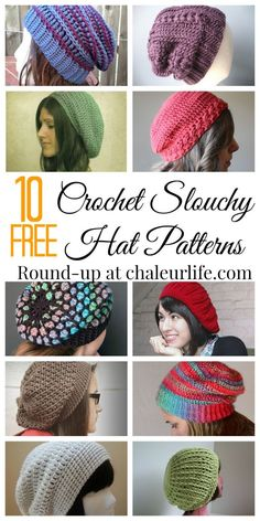 10 Free Crochet Slouchy Hat Patterns.  Perfect DIY hats for fall or back to school!