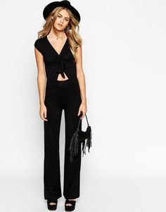 Image 1 of ASOS 70's Jumpsuit with Tie Front