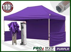 Eurmax Profession Ez Pop up Canopy Booth, Bonus Awning and 4weight Bag(10x15 Feet, Purple) (Full Aluminum Frame with 2 1/4 Inch Hexagon Leg) by Eurmax. $729.95. Frame:Heavy duty full aluminum Construction(Frame size:10x15Feet / weight:100LBS).Full Truss Design,Leg size:2.2 inch Hexagon ,Adjustable Height,No Tools Necessary for Setup.. Canopy top:600 Denier Polyester,Water Resistant,100% UV Protection,Fire Resistant: CPAI-84/ULC S109 & NFPA 701 Flame Retardancy Standards.c...