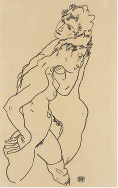 Egon Schiele, Due nudi femminili, 1918. Los Angeles, County Museum of Art. Lascito Michael e Doroty Blankford.