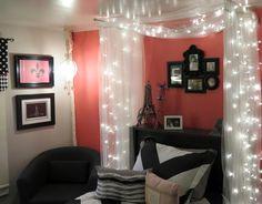 teen bedroom, paris pink, fairy lights, black and pink bedroom