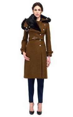 Bourchra Jarrar Shetland Coat With Fur Collar