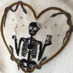 """my Santa Muerte Sweetheart has SOLD  thank you for your kindness and support folks! #tinycupneedleworks"""