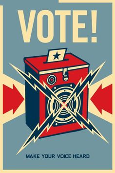 Of Vintage and Retro Design Love this poster, but also PLEASE vote. Just vote.Love this poster, but also PLEASE vote. Just vote. Political Posters, Political Art, Voting Posters, Shepard Fairy, Old Posters, Retro Posters, Giant Posters, Retro Design, Graphic Design