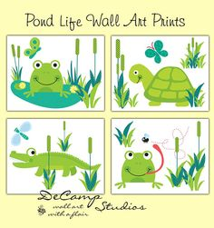 Frog Turtle And Alligator 8x10 All Art Prints For Baby Boy Or Girl Pond Life Nursery Childrens Sealife Bedroom Decor Decampstudios