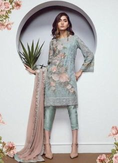 Check Out BAROQUE Luxury Ornament Blue Embroidered Chiffon Collection Replica at Master Replica Pakistan Call/WhatsApp: Eid Outfits, Pakistani Outfits, Indian Outfits, Pakistani Couture, Pakistani Dress Design, Kurta Designs, Indian Dresses, Eid Dresses, Wedding Dresses