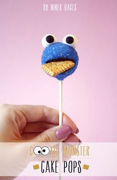 Cookie Monster Cake Pops…with golden Leibniz cookie - by niner bakes