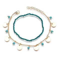 Bohemian Turquoise Bead Anklets Disc Beading Anklet Double Layer Women Anklet is fashionable, buy the best women anklet online for yourself. Beaded Anklets, Beaded Necklace, Anklets Online, Ankle Tattoos For Women, Ankle Tattoo Small, Gold And Silver Bracelets, Butterfly Pendant, Turquoise Beads, Summer Collection