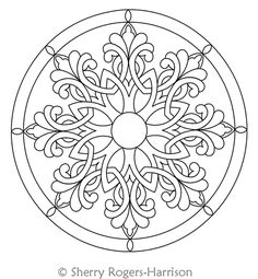 Digital Quilting Design Celtic Snowflake Medallion with Circles by Sherry Rogers… Digital Quilting Design Celtic Schneeflocken-Medaillon mit Kreisen von Sherry Rogers-Harrison. Mandala Tattoo Design, Mandala Drawing, Celtic Patterns, Celtic Designs, Islamic Art Pattern, Pattern Art, Mandala Coloring Pages, Colouring Pages, Motif Art Deco
