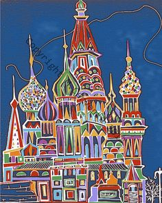 Items similar to Moscow Neonized A Gogo on Etsy Zen Doodle, All Art, Moscow, Russia, Doodles, Quilts, Watercolours, Holiday Decor, Unique Jewelry