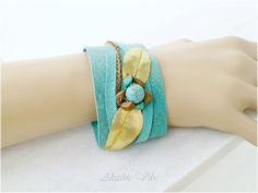 Turquoise Soft Leather Cuff Bracelet _ Brass Leaves by AkashicVibe