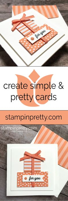 2018-2020 In Color Grapefruit Grove 3x3 Note Card. Itty Bitty Greetings Stamp Set by Stampin' Up! Note Card by Mary Fish, Stampin' Pretty. #maryfish #stampinpretty