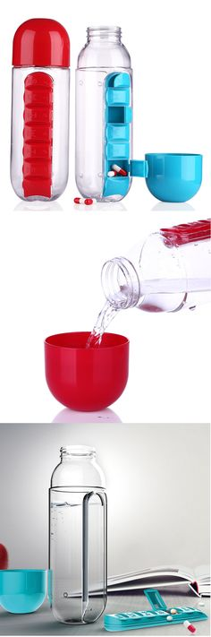 US$7.69 SaicleHome 600ml Water Bottle Daily Pill Storage Box Outdoor Drinking Bottles Anti-leak Drinkware