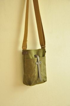Waxed canvas  bag purse leather accessories military by metaphore, $65.00