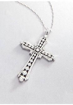 14K Yellow Gold Cross wn Pendant Solid 15 mm 15 mm Pendants /& Charms Jewelry