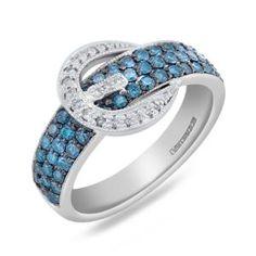 #Malakan #Jewelry - Platinum-Silver Treated Blue Diamond Belt Ring 78391A2 #Fashion #FashionRings #WomensFashion