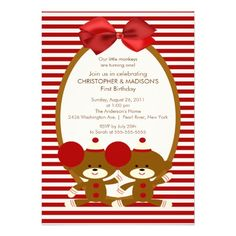 Sweet Sock Monkeys TWINS Birthday Invitation