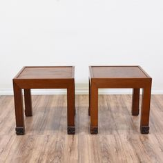 This pair of asian style end tables are featured in a solid wood with a light cherry finish. These simple side tables are in great condition with square tabletops, straight legs and carved swirl feet. Perfect as unique nightstands with tabletop space! #asian #tables #endtable #sandiegovintage #vintagefurniture