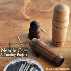 A wooden needle case is beautiful to hold and to use. An intermediate project that lets your turning skills shine. It is easy to turn out of a pen blank. Lathe Projects, Easy Woodworking Projects, Wood Projects, Sewing Projects, Sewing Tools, Sewing Ideas, Wood Turning Lathe, Wood Turning Projects, Wood Router