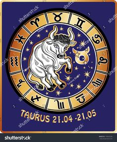 One animal Taurus rides behind them are symbols of all zodiac signs in Horoscope circle. Golden and white figure on blue background.Graphic Vector Illustration in retro style.