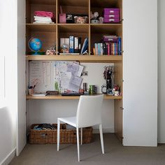 Home office with alcove desk, shelving and doors Make full use of an alcove in a home office by fitting shelves, a desk and doors. Tuck in the chair and close the doors to hide everything from view. Similar chair, TwentyTwentyOne.