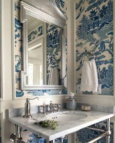 Navy Blue Powder Room - Design photos, ideas and inspiration. Amazing gallery of interior design and decorating ideas of Navy Blue Powder Room in bathrooms, laundry/mudrooms, boy's rooms by elite interior designers - Page 1 Toile Wallpaper, Chinoiserie Wallpaper, Bathroom Wallpaper, Asian Wallpaper, Wallpaper In Powder Room, Blue And White Wallpaper, Remove Wallpaper, Cole And Son Wallpaper, Wallpaper Space