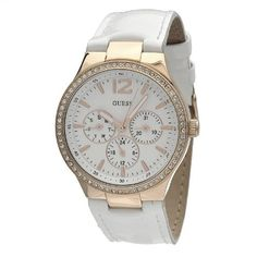 GUESS Women's W13556L1 Round Case Gold Dial Crystal Bezel White Leather Strap Watch GUESS. $139.99. Quartz movement. Mineral crystal. Water resistant to 99 feet. Case diameter: 37 mm. Stainless steel case. Save 28% Off!