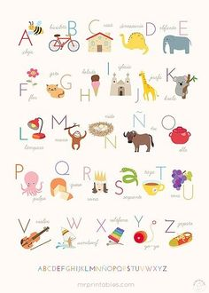 Abecedario para imprimir gratis desde el enlace http://www.mrprintables.com/alphabet-posters.html#spanish-abc-poster