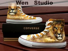 I Love Lion Converse Custom Lion Shoes Hand Painted Shoes,Converse Shoes,Painted Custom Converse Canvas Shoes Unique Birthday Gifts Only One on Etsy, $85.00