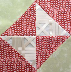 Block 9: netting ribbon – Textured 4-patch quilt | Sewn Up by TeresaDownUnder
