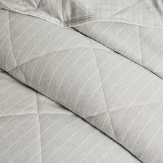 A: Quilt and (2) Euro Shams. Flannel Pinstripe Coverlet + Shams - Frost Gray