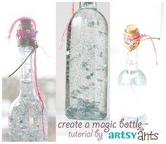 """make a magic bottle - a tutorial   artsy ants eigene """"Schneekugel""""-Flasche basteln füllen mit Glitter und Kleinteilen etc"""