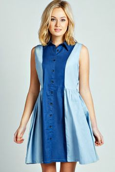 Milly Double Denim Shirt Dress at boohoo.com
