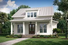 2-Bed Cottage House Plan with Porches Front and Back - 51835HZ | Architectural Designs - House Plans Porch House Plans, Best House Plans, Bedroom House Plans, Modern House Plans, Small House Plans, Modern Farmhouse Plans, Farmhouse Design, Farmhouse Small, Country Farmhouse