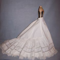 Beautiful Antique Slip for Lady Doll - Long Train