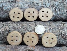 Wood Buttons  6  Black Jack tree branch by forestinspiration, $8.00